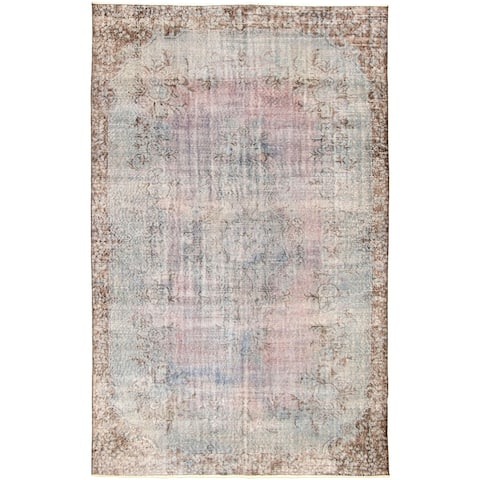 ECARPETGALLERY Hand-knotted Color Transition Light Blue Wool Rug - 6'1 x 9'10