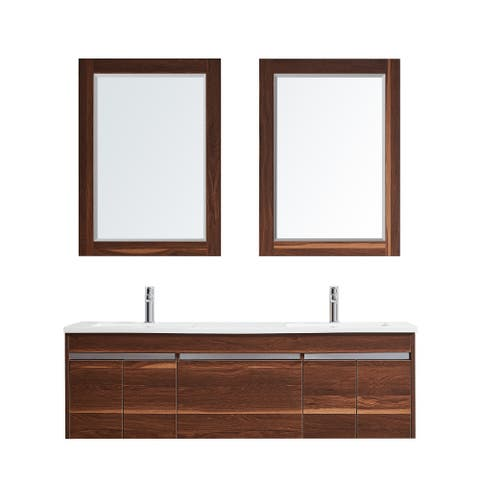 Thomas 60 in. Vanity in Walnut with Acrylic Top in White and Mirror