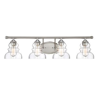 "Millennium Lighting 7334 4 Light 33"" Wide Vanity Light with Clear Glass Specialty Shades"