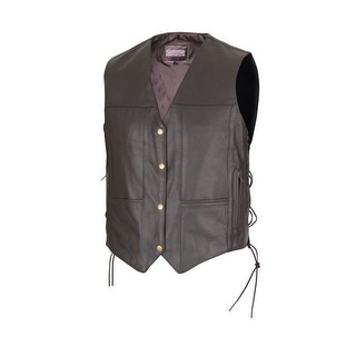 Men Black Leather Ten Pocket Motorcycle Biker Vest by Xtreemgear MBV114