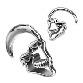 Surgical Steel Skull Hanging Taper Plug (Sold Individually)