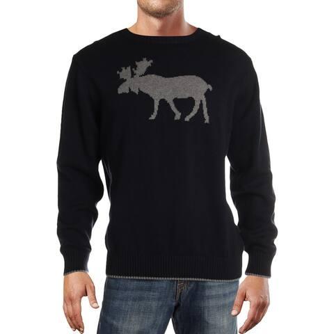 Weatherproof Vintage Mens Moose Crewneck Sweater Graphic Ribbed Trim