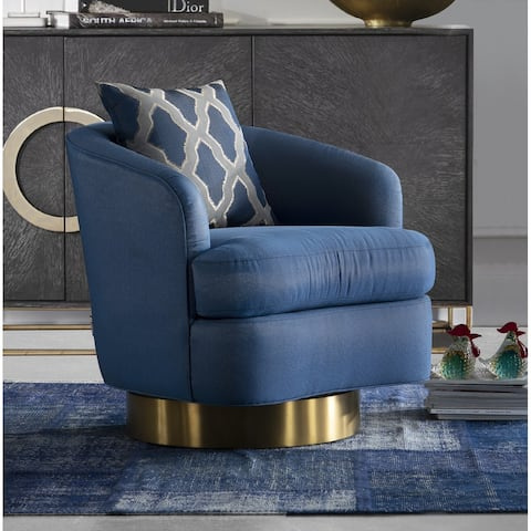 Modrest Niagra Glam Blue and Gold Fabric Accent Chair