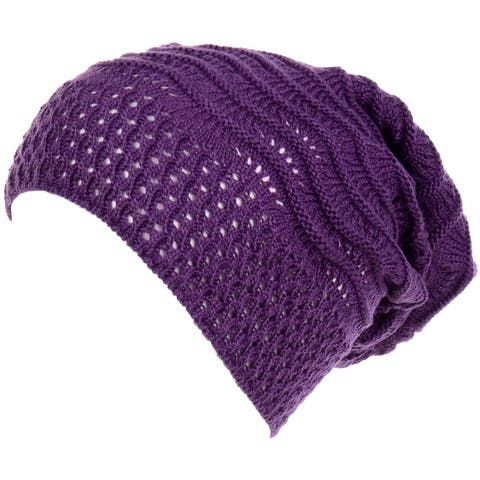 Slouchy Beanie Hat Lightweight Open Weave Knit 1 or 2 Piece Pack