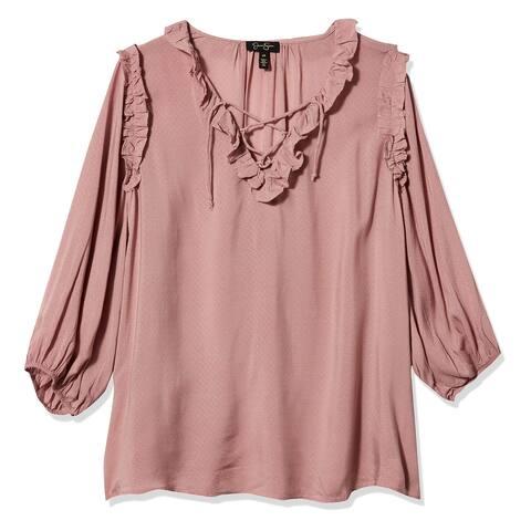 Jessica Simpson Women's Blouse Blush Pink Size XS Lace Up Ruffle Trim
