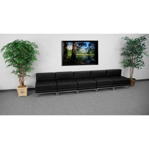 """5 Piece LeatherSoft Modular Lounge Set with Taut Back and Seat - 140""""W x 28.75""""D x 27.25""""H"""