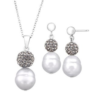 Crystaluxe Grey Ringed Freshwater Pearl Pendant & Earring Set with Swarovski Crystals in Sterling Silver