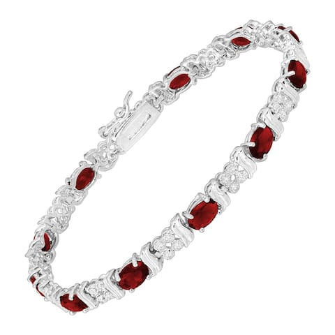 """Oval Station Tennis Bracelet with Red Glass & Cubic Zirconia in Rhodium-Plated Bronze, 7.25"""""""