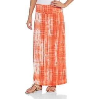 JADA Collections Women's Fashion Maxi Skirt with Shirred Waistband, Orange Tie-Dye