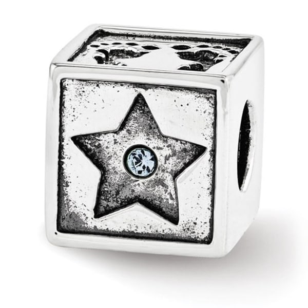 Sterling Silver Reflections Swarovski Elements Baby Block Bead (4mm Diameter Hole)