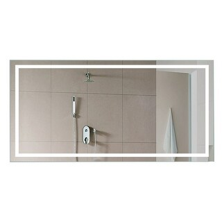 "Miseno MM5636LEDR 56"" W x 36"" H Rectangular Frameless Wall Mounted Mirror with LED Lighting - N/A"