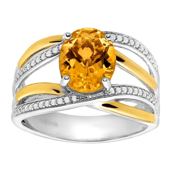 2 1/5 ct Natural Citrine & 1/8 ct Diamond Ring in Sterling Silver & 14K Gold