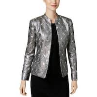 Kasper Womens Open-Front Blazer Jacquard Metallic