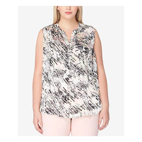 TAHARI Womens Pink Printed Cap Sleeve Top Size M