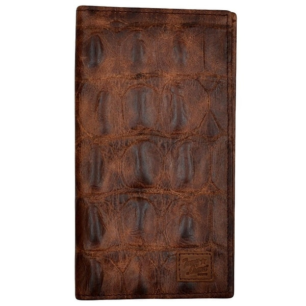 Tony Lama Western Wallet Mens Rodeo Croc Print Leather Cognac - One size