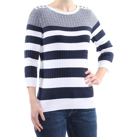 58036000c37 KAREN SCOTT Womens Navy Cable-knit Striped 3 4 Sleeve Jewel Neck Sweater  Size