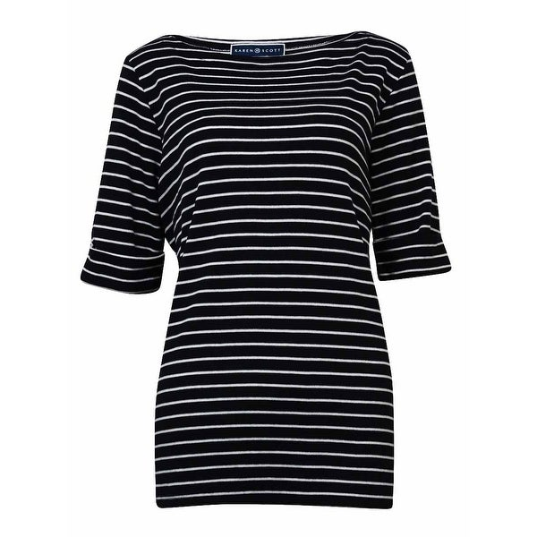 a6dae5c5dd507 Shop Karen Scott Women s Boat Neck Striped Cotton Blend Knit Top - Deep  Black - Free Shipping On Orders Over  45 - Overstock - 14696686