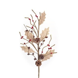32 Rustic Leaf Pinecone and Red Berry Christmas Branch Burlap Spray