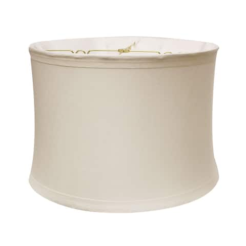 "Cloth & Wire Drum No Hug with 1"" Trim Softback Lampshade with Washer Fitter, Snow"