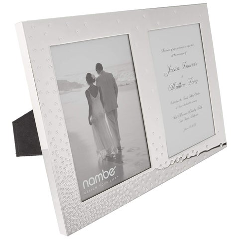 Nambe Dazzle Double Silver Plate & Glass Invitation Frame - Holds Two 5x7 Photos - Silver