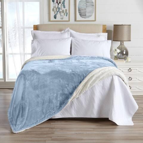 Great Bay Home Reversible Velvet Plush Sherpa Bed Blanket