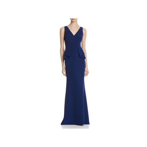 Aidan Mattox Womens Evening Dress Peplum V-Neck
