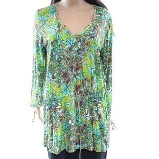 Soraya NEW Green Women's Size Medium M Floral Print Tunic Blouse