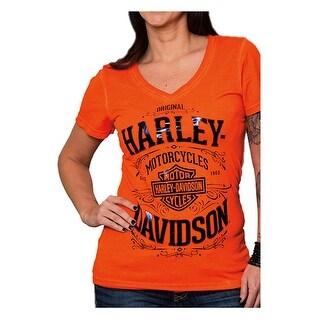 Harley-Davidson Women's H-D Vintage V-Neck Short Sleeve Tee, Vermilion Orange