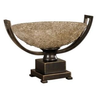 "17"" Hand Rubbed Bronze Patina Pedestal Crackle-Finished Refractive Glass Bowl"