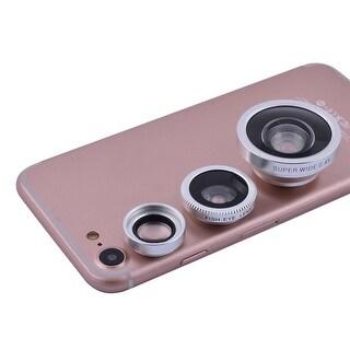 3 in 1 Phone Notebook Fisheye Super Wide Angle Macro Camera Lens Kit Silver Tone