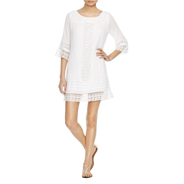 Sanctuary Womens Tunic Dress Crochet Trim 3/4 Sleeves