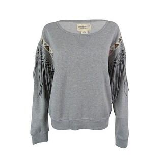 Ralph Lauren Women's Beaded Fringe Long Sleeves Sweatshirt - Grey - m