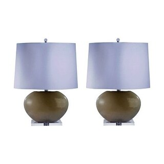 """Lamp Works 307/S2 Blown Glass 1 Light 27"""" Tall Table Lamp with Hardback White Fabric Shade - Set of 2"""