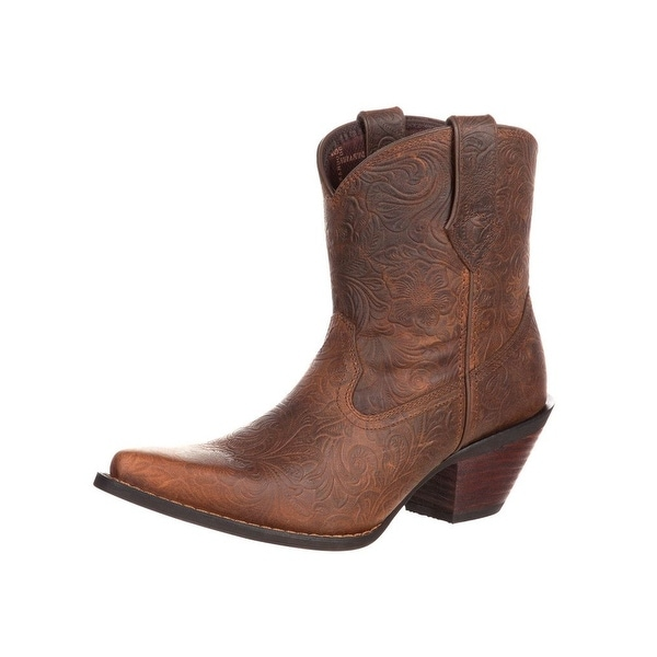 Durango Western Boots Womens Crush Floral Embossed Brown
