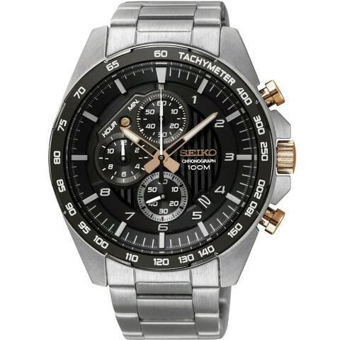 Seiko Men's SSB323 'Motorsport' Chronograph Stainless Steel Watch - Black