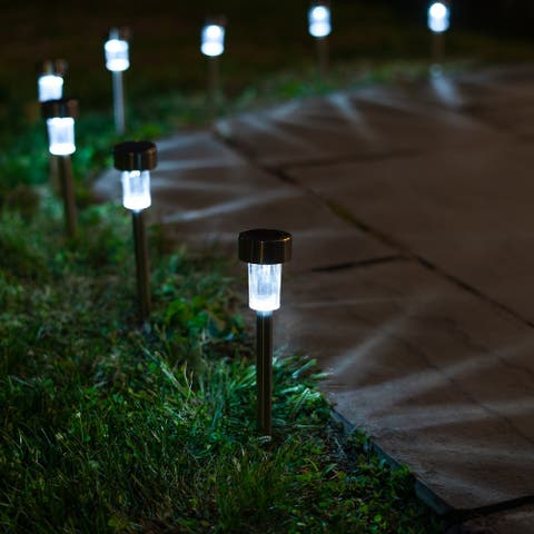 LAWNLITES- Solar Stainless Steel Stake Accent LED Lights - 8 Pack