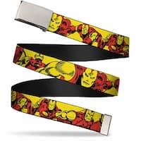 "Marvel Comics Blank Chrome 1.0"" Buckle Iron Man Body Action Repeat Webbing Web Belt 1.0"" Wide"