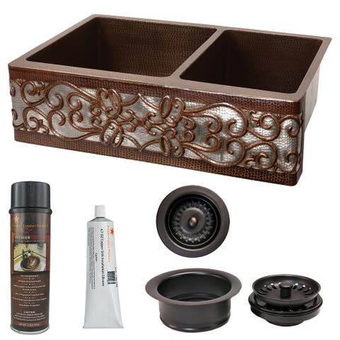 Premier Copper Products KSP3_KA60DB33229S-NB Kitchen Sink and Drain Package