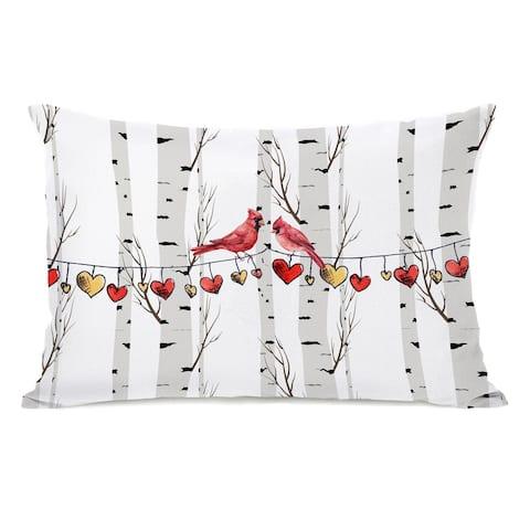 Cardinal Hearts on a String - Lumbar Pillow