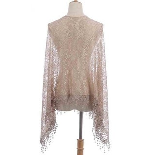 Shine Mark Accessories MSF782-3-02 Lace Poncho with Tassle - Beige