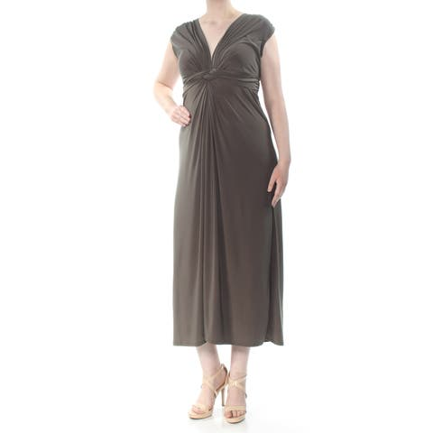 LOVE SQUARED Womens Green Pleated Ruched Twist Tie Bodice Cap Sleeve V Neck Maxi Evening Dress Plus Size: 1X