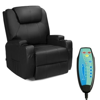 Gymax 8 Point Massage Recliner Chair Heated Swivel Black