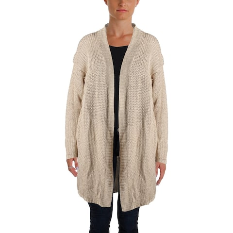 Lauren Ralph Lauren Womens Petites Cardigan Sweater Knit Ribbed Trim