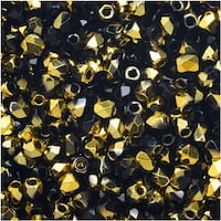 True2 Czech Fire Polished Glass, Faceted Round Beads 2mm, 50 Pieces, Jet Amber