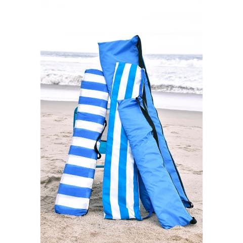 Sandy Bumz- Outdoor Ground Cover Blue/White Striped - 52 square inches