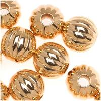 Genuine 22K Gold Plated Fluted Corrugated Round Metal Beads 8mm (25)