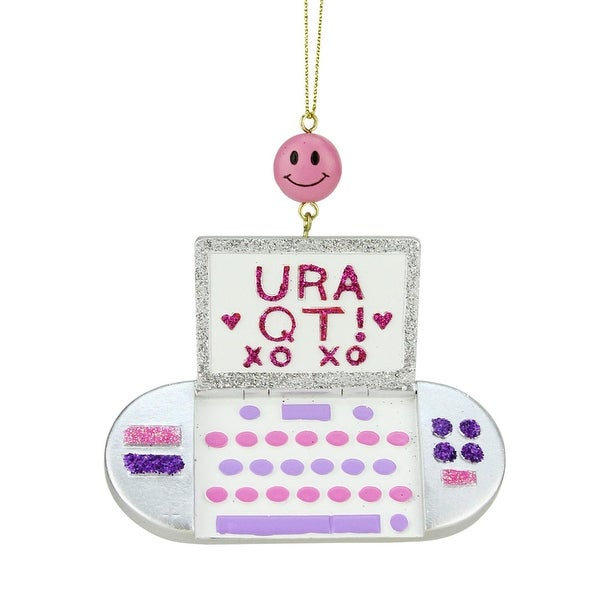 """4"""" Tween Christmas Cell Phone with """"URA QT! XO XO"""" Text Message Holiday Ornament"""