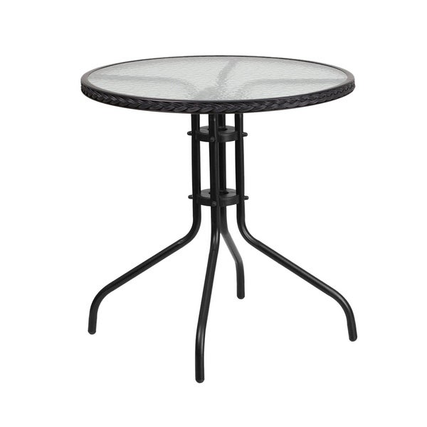 Offex 28'' Round Tempered Glass Metal Table With Black Rattan Edging by Offex