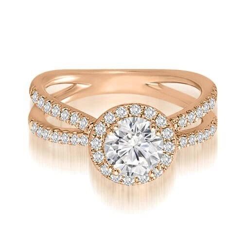 1.35 cttw. 14K Rose Gold Halo Split-Shank Round Diamond Engagement Ring