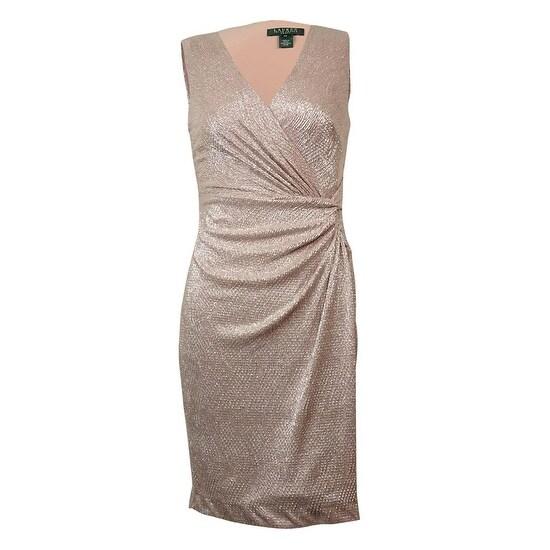 Lauren Ralph Lauren Women\u0026#x27;s Metallic Surplice V-Neck Dress - Pink
